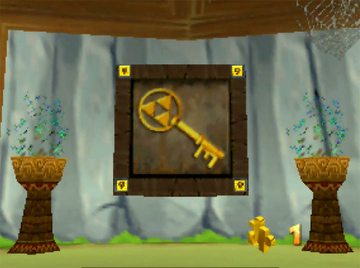 Completing a Triforce-bearing Jiggy portrait in Banjo Kazooie: The Bear Waker for Nintendo 64.