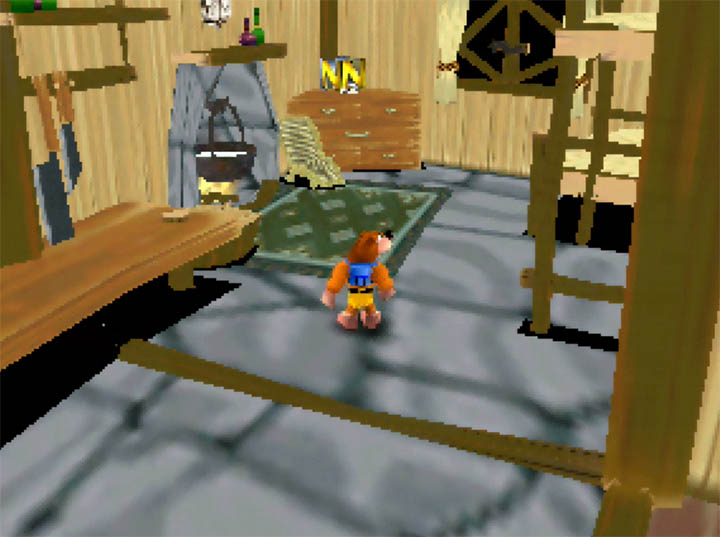 Banjo and Kazooie find themselves in Link's Grandma's House in Banjo Kazooie: The Bear Waker