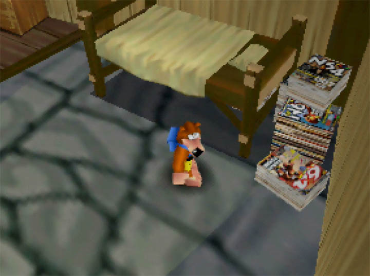 Banjo finds a stash of N64 magazines lying around in a house on Outset Island in Banjo Kazooie: The Bear Waker for N64.