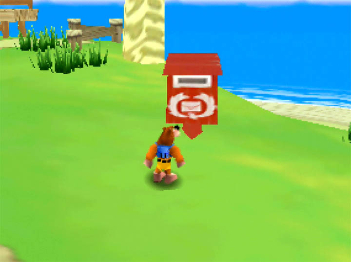 Banjo inspects a red postbox in Banjo Kazooie: The Bear Waker N64 mod