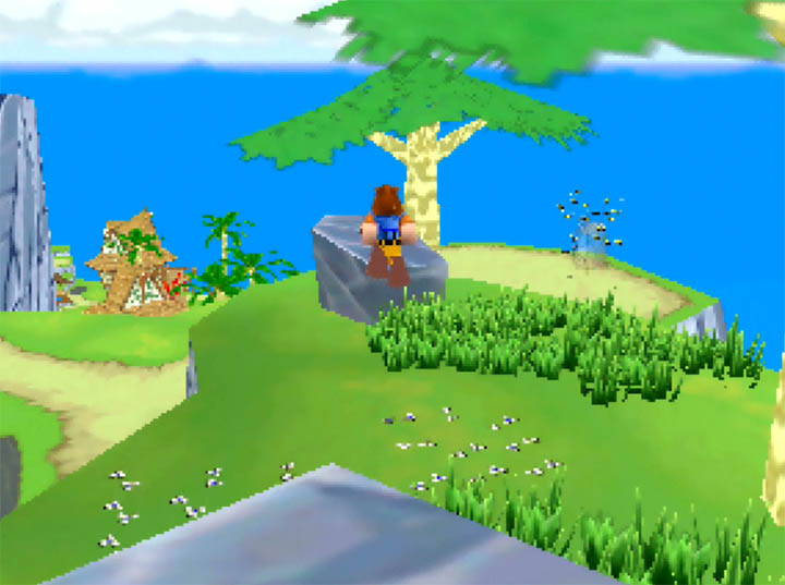 Jumping off a rock in Banjo Kazooie: The Bear Waker N64 mod