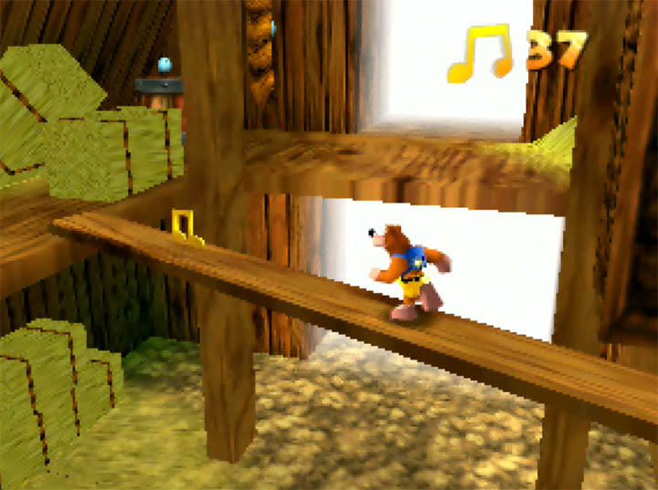 Running along a beam inside Harvest Hills' barn in Banjo-Kazooie: The Hidden Lair for N64.