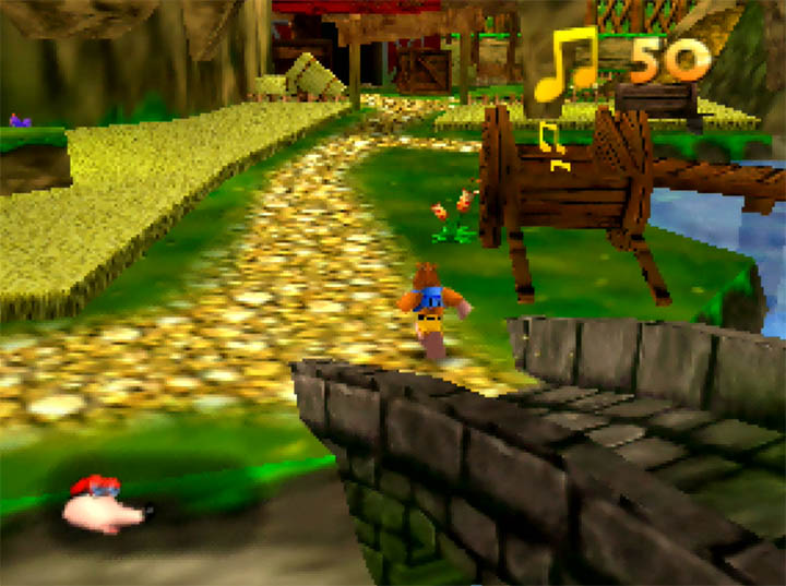 Banjo runs over a bridge in Banjo-Kazooie: The Hidden Lair for N64.