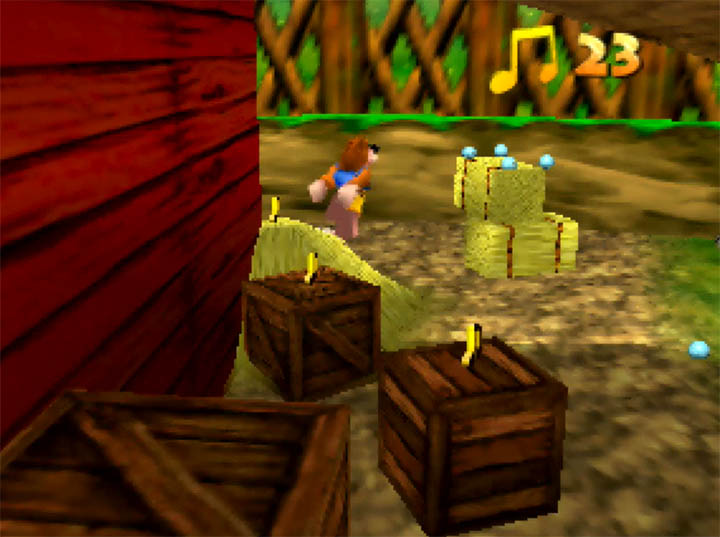 Banjo jumps from crate to crate in Banjo-Kazooie: The Hidden Lair for N64