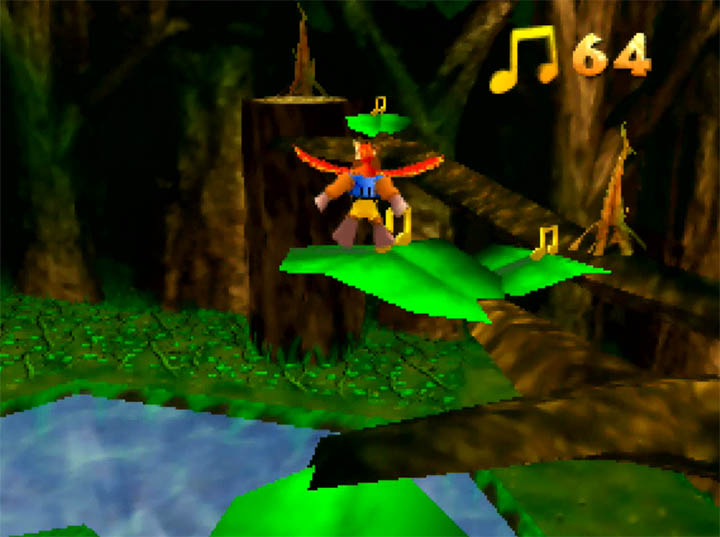 Jumping across giant leaves in Banjo-Kazooie: The Hidden Lair for Nintendo 64