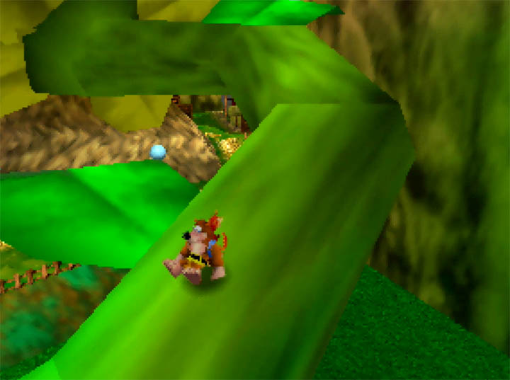 Running up the stalk of a giant sunflower in Banjo-Kazooie: The Hidden Lair for N64