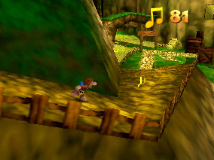 Descending a hill in Banjo-Kazooie: The Hidden Lair for Nintendo 64