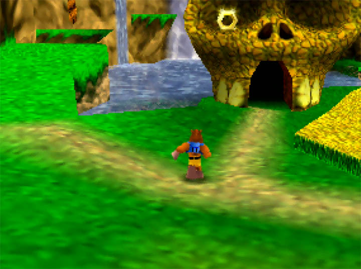 Mumbo's hut, now in Spiral Mountain, in Banjo-Kazooie: The Hidden Lair for N64.