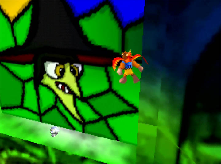 A stained-glass window of Gruntilda's face in Banjo-Kazooie: The Hidden Lair for N64