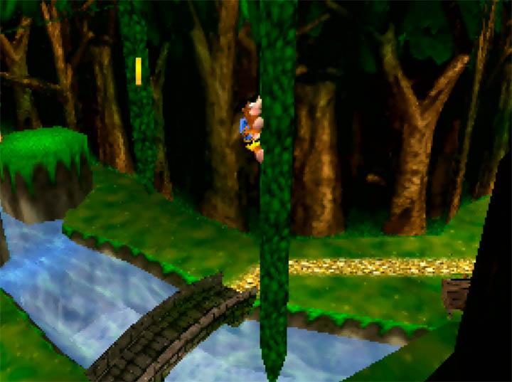 Climbing up a vine in Banjo-Kazooie: The Hidden Lair mod for Nintendo 64