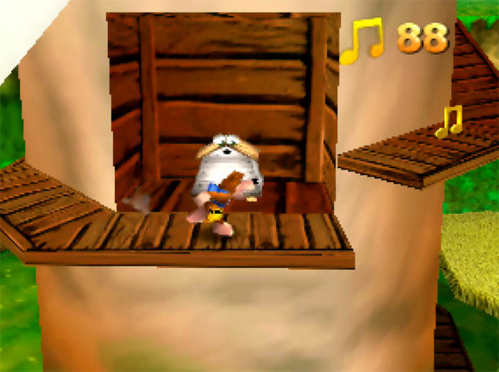 Scaling the windmill in Banjo-Kazooie: The Hidden Lair's Harvest Hills world.