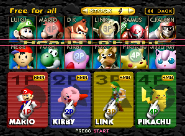 Character select screen in Super Smash Bros: More Stages Edition for N64 by Comjay.