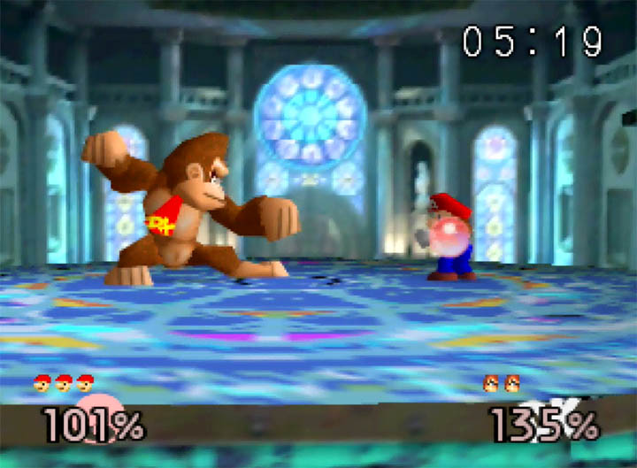 DK versus Mario on the Kalos Pokemon League stage, as recreated inSuper Smash Bros: More Stages Edition for N64 by Comjay