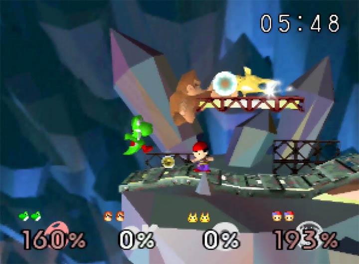 Yoshi, DK, Ness and Pikachu fight on the Metal Mario stage, as made possibe by the Super Smash Bros: More Stages Edition mod for N64.