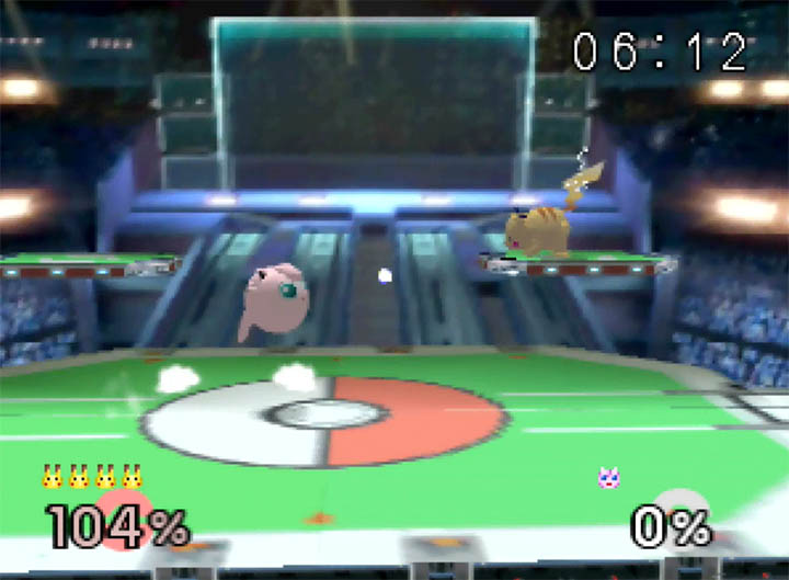 Jigglypuff and Pikachu face off in Super Smash Bros: More Stages Edition's recreation of the Pokémon Stadium 2 stage from Super Smash Bros. Brawl