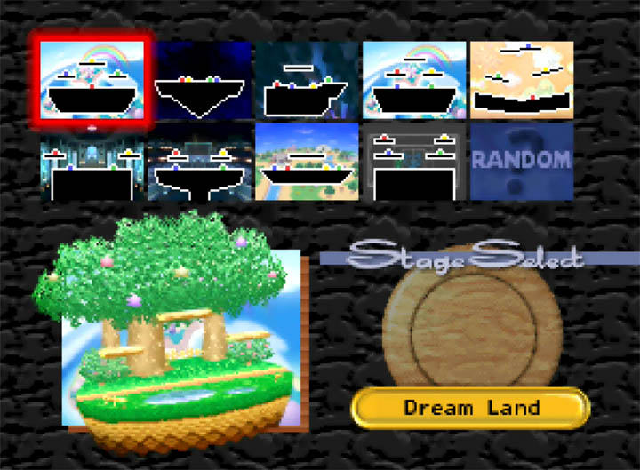 Super Smash Bros: More Stages Edition stage select screen on N64