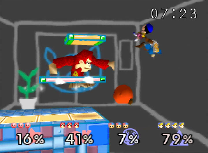 Two teams battle it out in Super Smash Bros: More Stages Edition's WarioWare Inc stage (added in version 0.4)