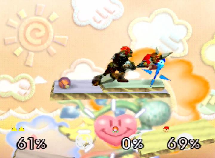 Ganondorf smash-attacks using his trident in Smash Remix mod for Super Smash Bros. 64