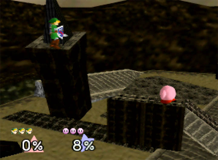Link fights Kirby on Ganon's Ruin Super Smash Bros. 64 stage.