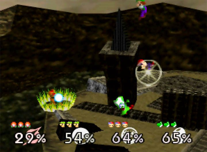 A four-playet battle on Ganon's Ruin Super Smash Bros. 64 stage.