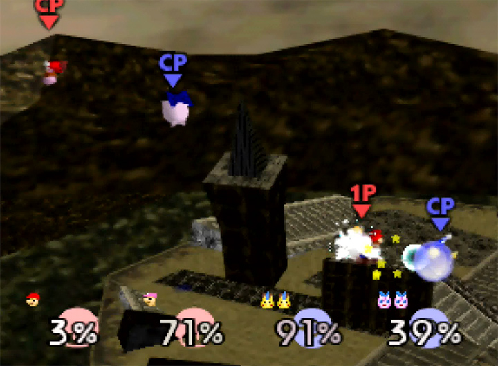A team battle between the Mario Bros. and Pikachu and Jigglypuff in Super Smash Bros. 64's Ganon's Ruin stage mod by BridGurrr.