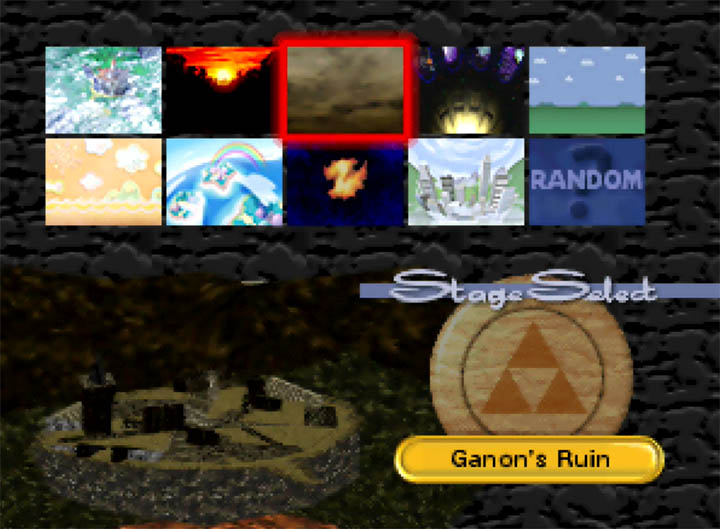 Ganon's Ruin replaces Hyrule Castle in the Super Smash Bros. 64 stage select screen.