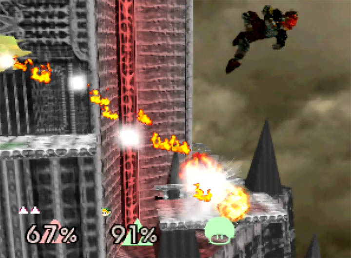 Ganondorf pulls off his Dark Dive special attack on Young Link on the Ganon's Tower custom stage for Super Smash Bros. 64