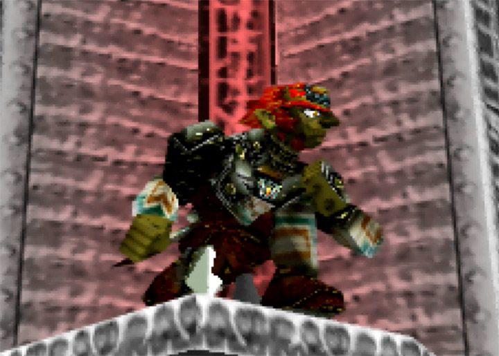 Ganondorf crouches atop a platform in the Super Smash Bros. 64 custom stage Ganon's Tower