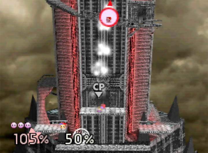 Ness sends Kirby flying up alongside Ganon's Tower in Super Smash Bros. 64