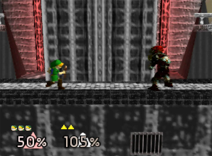 Link and Ganondorf face off on Ganon's Tower, a custom Super Smash Bros. 64 stage