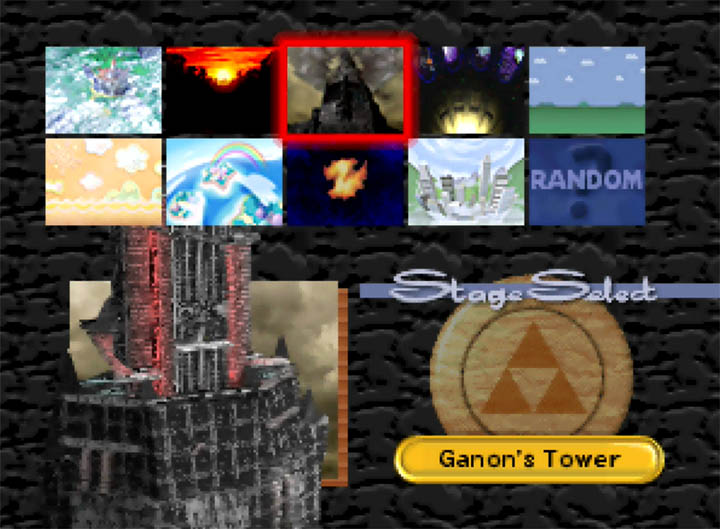 Super Smash Bros. stage select screen, but with Ganon's Tower instead of Hyrule Castle.