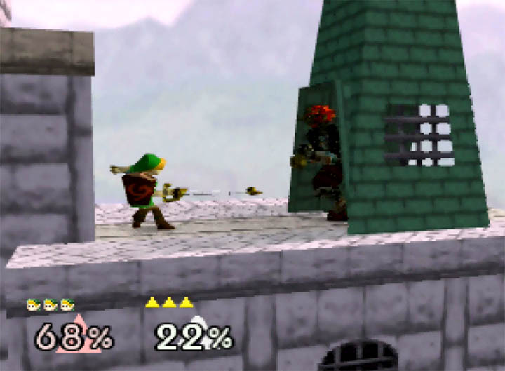 Young Link uses his Hookshot grab attack in Young Link Super Smash Bros. 64 mod