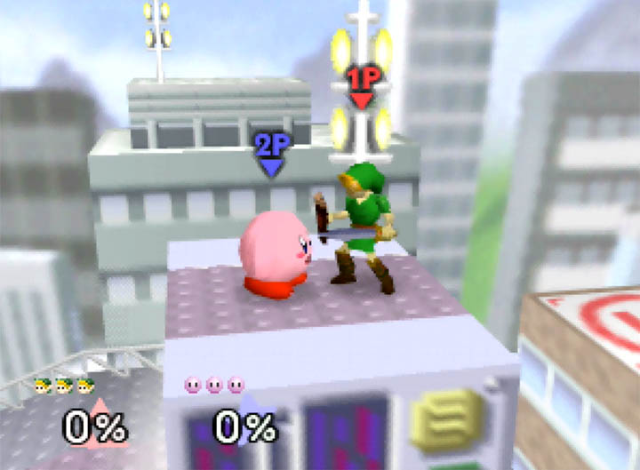 Size of Young Link compared to Kirby in Super Smash Bros. 64 mod