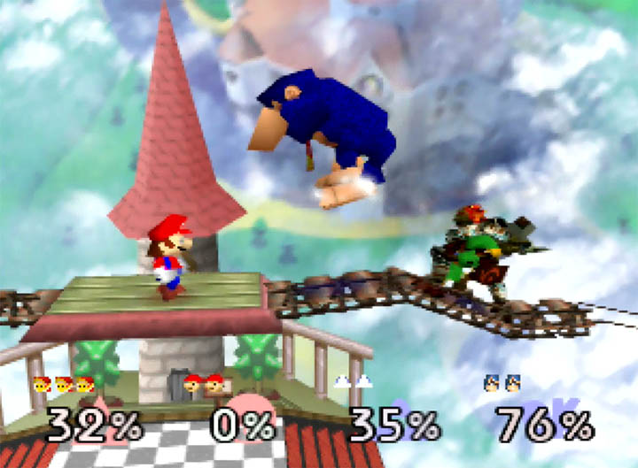 Young Link teams up with Mario against DK and Ganondorf in Smash Remix mod for Super Smash Bros. 64