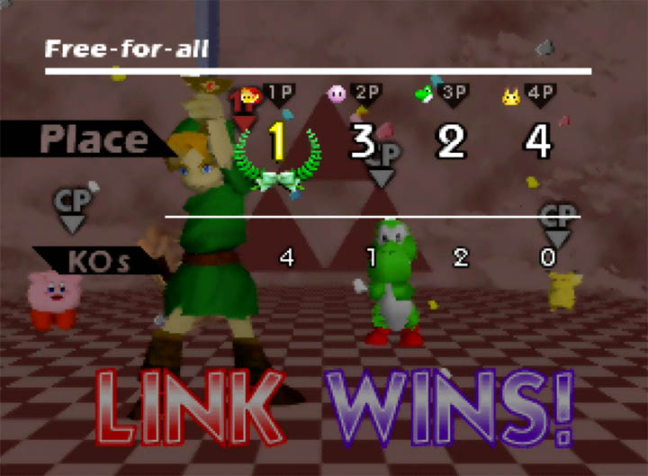 Young Link wins in Super Smash Bros. 64 (Smash Remix mod)
