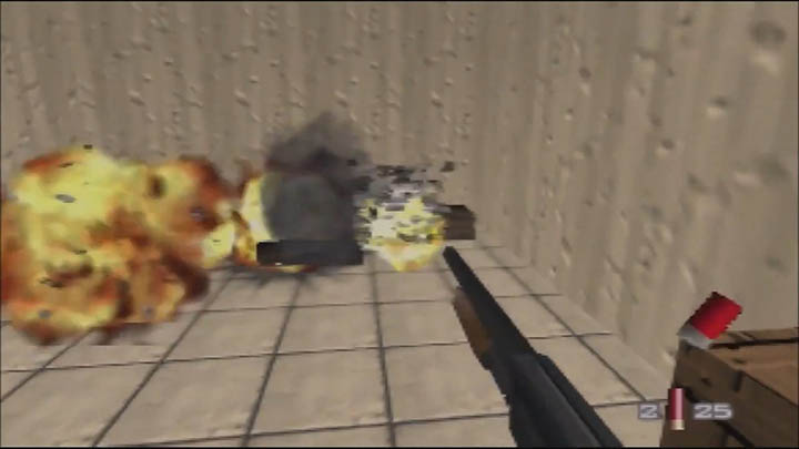 Blowing up an ammo dump in The Spy Who Loved Me 64 GoldenEye 007 mod