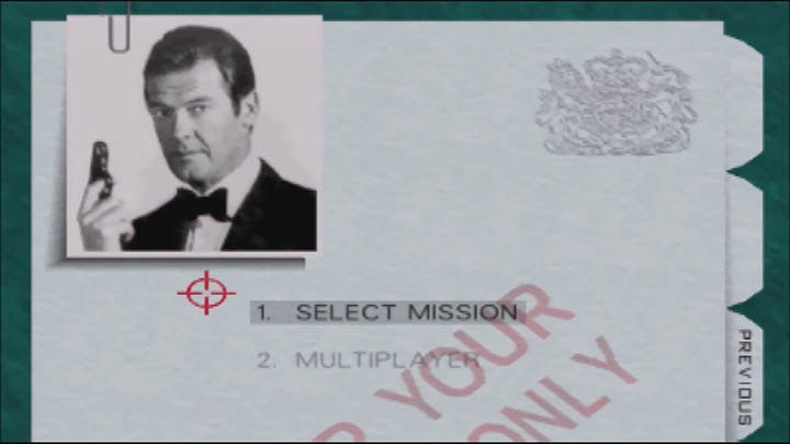 Menu screen showing Roger Moore's portrait in The Spy Who Loved Me 64 GoldenEye 007 mod.