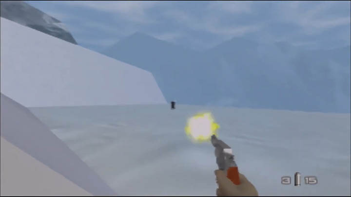 Firing a revolver pistol in The Spy Who Loved Me 64 GoldenEye 007 mod