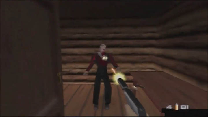 Shooting a guard hiding in a log cabin in The Spy Who Loved Me 64 GoldenEye 007 mod