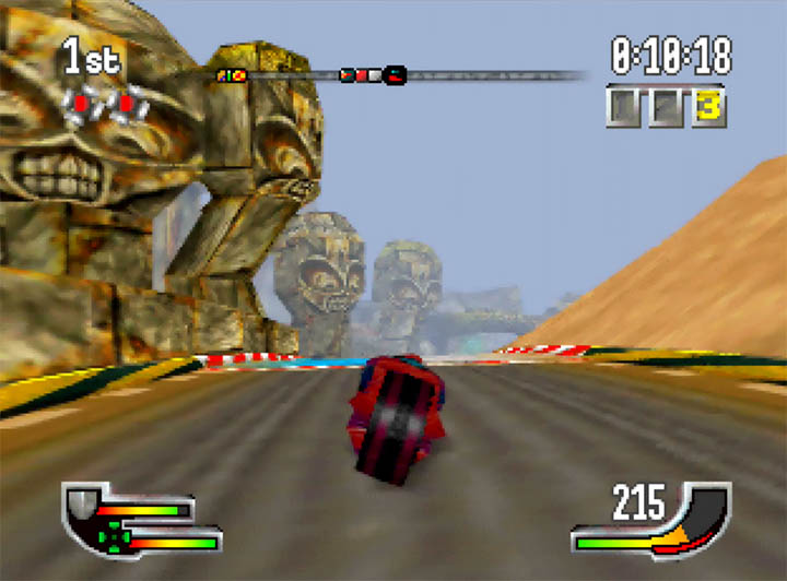 Giant stone faces of an alien race line the first track of Extreme-G for Nintendo 64.