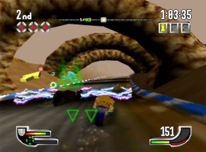 An opponent blocks the track using a power-up in Extreme-G's Atomic Cup