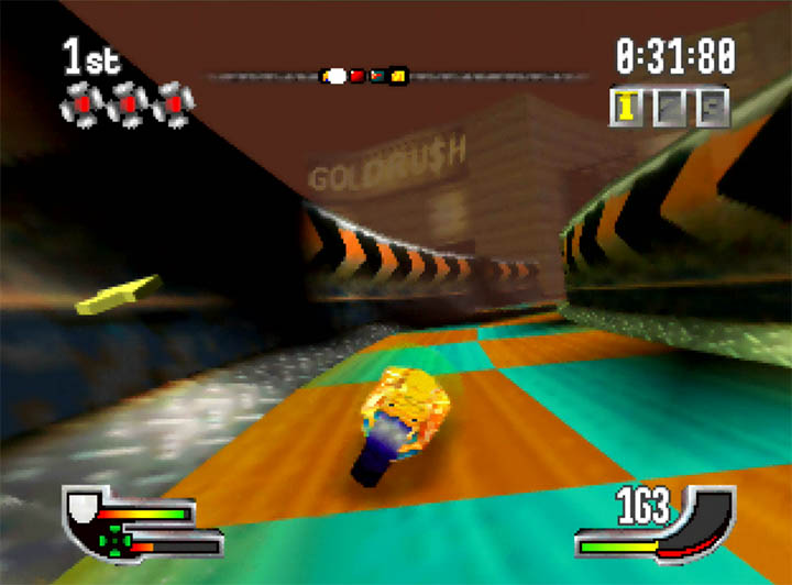 Extreme-G's checkerboard-style track, which are clearly inspired by Wipeout.