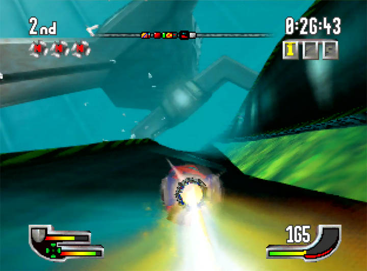 Using the flame boost power-up in Extreme-G for N64.