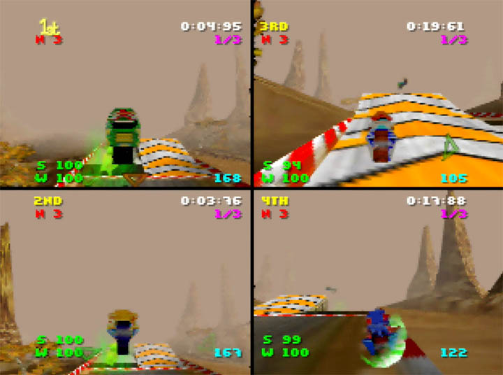 A four-player race in Extreme-G for N64.