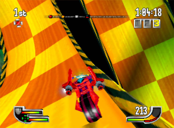 Driving round a 360 loop in Extreme-G on Nintendo 64.