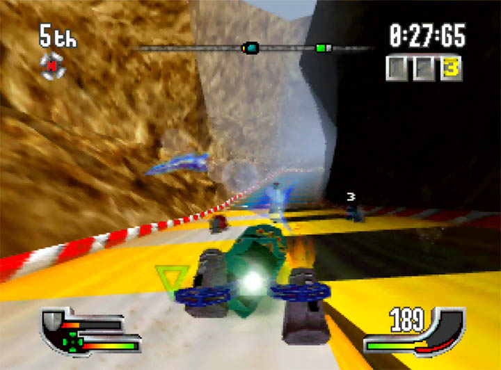 Launching the mortar weapon at opponents in Extreme-G for Nintendo 64.