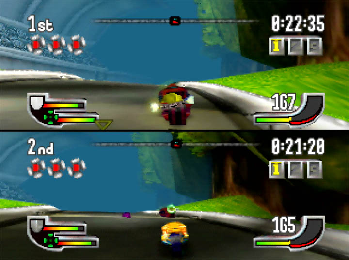 Racing against another player in Extreme-G - a futuristic racing game for N64.