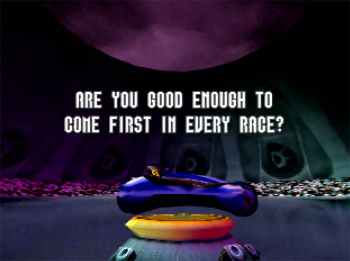 "Unlocking the Neon bike in Extreme-G for Nintendo 64. An on-screen message reads ""Are you good enough to come first in every race?"""