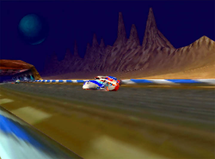 Superfast bikes zip along the track in Extreme-G's intro cinematic on N64.