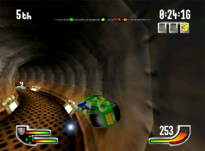 Zipping along a tunnel wall in superfast N64 racing game Extreme-G.